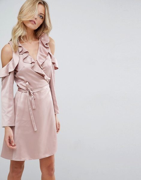 "Asos Wrap Front Tea Dress in Satin in pink - """"Dress by ASOS Collection, Smooth satin fabric, V-neck,..."