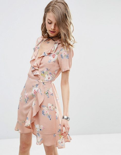"Asos Wrap Front Tea Dress with Frill in Pretty Floral Print in pink - """"Dress by ASOS Collection, Lightweight woven fabric,..."