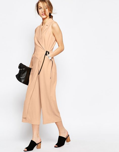 Asos Wrap jumpsuit with contrast tie in beige - Jumpsuit by ASOS Collection, Woven fabric, V-neckline,...