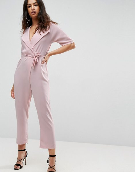 """Asos Wrap Jumpsuit with Self belt in pink - """"""""Jumpsuit by ASOS Collection, Lightweight woven fabric,..."""