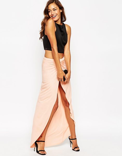 Asos Wrap maxi skirt in jersey in nude - Maxi skirt by ASOS Collection Lightweight jersey...
