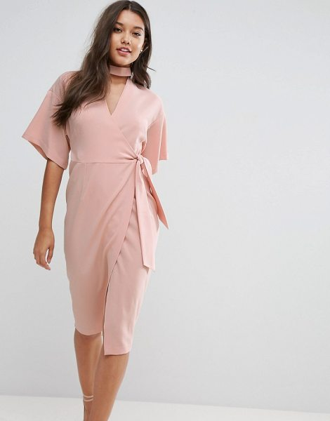 "Asos wrap midi dress with choker detail in blush - """"Midi dress by ASOS Collection, Textured woven fabric,..."