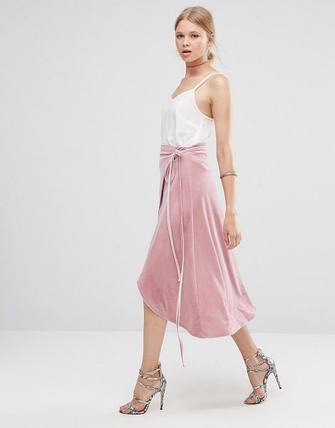 "Asos Wrap Midi Skirt in Velvet in pink - """"Midi skirt by ASOS Collection, Soft-touch velvet,..."