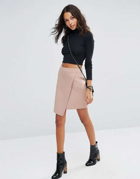 Asos Wrap Mini Skirt in Scuba in tan - Skirt by ASOS Collection, Scuba-style fabric, Unlined...