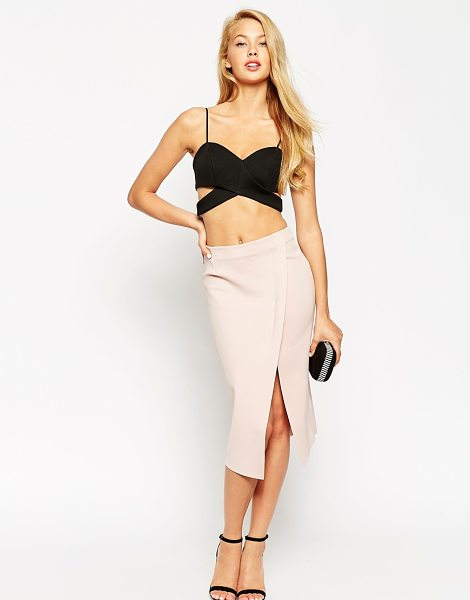 Asos Wrap pencil skirt with raw edge in beige - Pencil skirt by ASOS Collection, Soft-touch scuba-style...