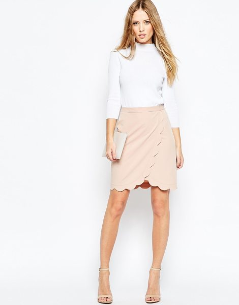 Asos Wrap Pencil Skirt with Scallop Detail in pink - Pencil skirt by ASOS Collection, Woven fabric, Wrap...