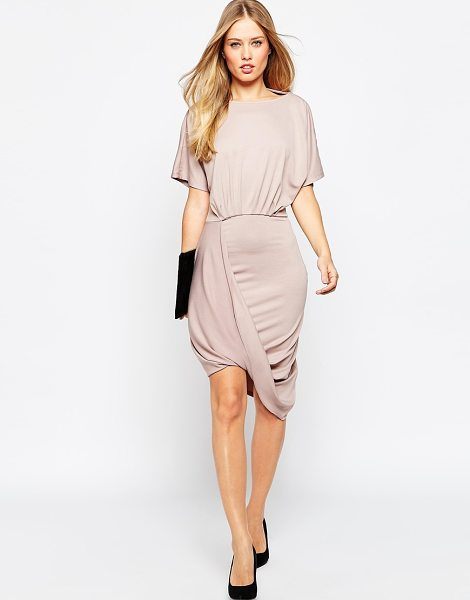Asos Wrap twist t shirt mini dress in mink - Dress by ASOS Collection, Smooth stretch fabric, Boat...