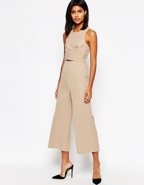 Asos Wrap Waist Jumpsuit in beige - Jump suit by ASOS Collection, Smooth woven fabric, Round...