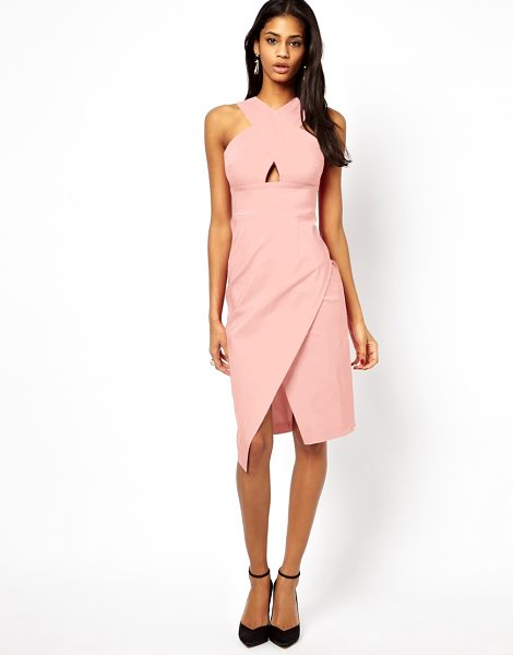 Asos X front pencil midi dress in babypink - Machine wash according to instructions on care label....