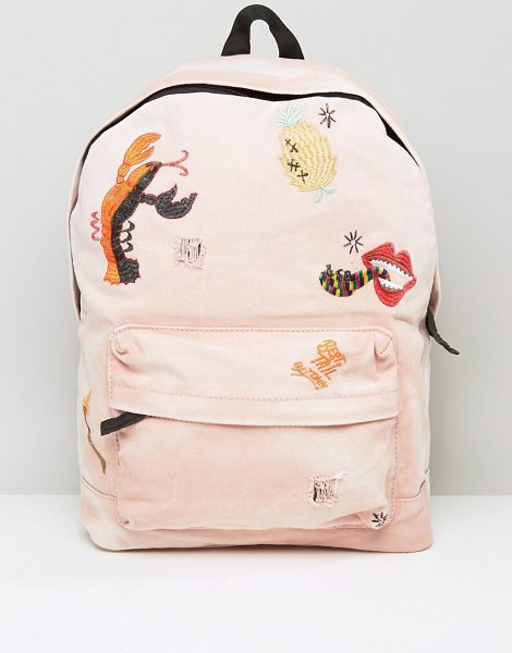 Asos X LOT STOCK & BARREL Backpack with Embroidery in pink - Backpack by ASOS X Lot, Stock Barrel, Fabric outer,...