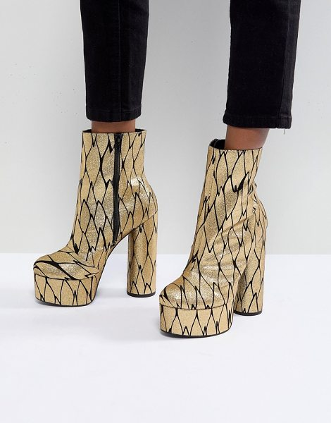Asos X MARY BENSON Platform Ankle Boots in gold - Boots by ASOS Collection, Designed in collaboration with...