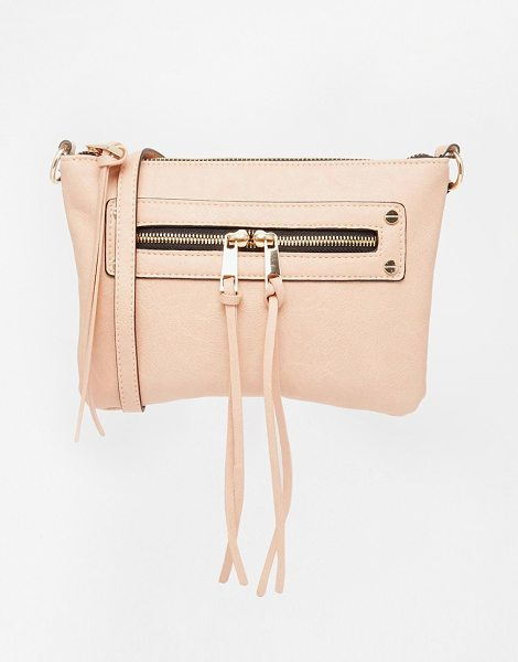 Asos Zip pocket cross body bag in nude - Cart by ASOS Collection Faux-leather outer Front zip...