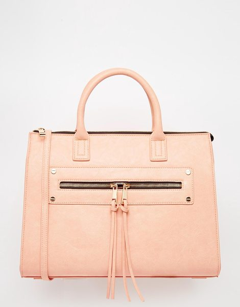 Asos Zip pocket tote bag in nude - Cart by ASOS Collection Faux-leather outer Grab handles...