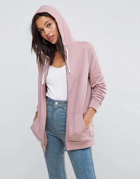 ASOS zip through hoodie in soft pink - Hoodie by ASOS DESIGN, A wardrobe staple, Drawstring...