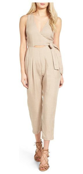 ASTR the Label collette crop jumpsuit in taupe - Modern and sassy with skin-flaunting keyholes in front...