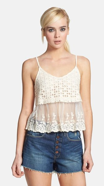 ASTR the Label crochet & embroidered mesh camisole in cream - Summertime crochet crowns wispy embroidered mesh to form...