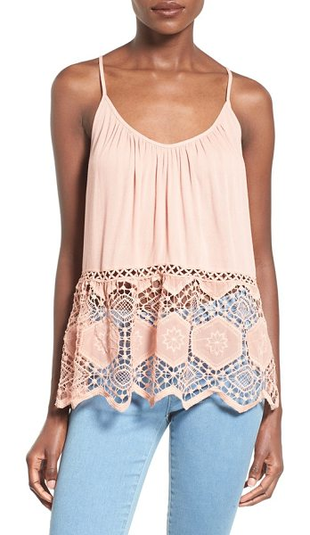 ASTR THE LABEL crochet trim babydoll camisole in dark blush - A free-flowing camisole with a gently shirred scooped...