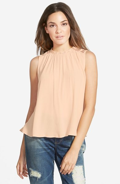ASTR the Label crochet trim shell in pink salmon - Crocheted shoulder panels lend a touch of breezy beauty...