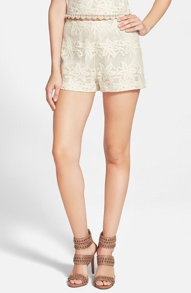 ASTR the Label embroidered crochet shorts in cream - Cotton crochet shorts textured with embroidered flowers...