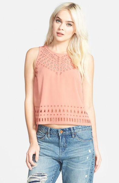 ASTR THE LABEL embroidered cutout crop top in coral - Embroidered front cutwork lends captivating detail to a...
