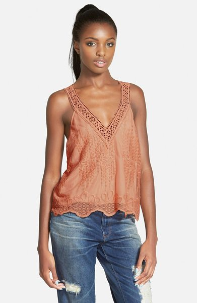 ASTR the Label embroidered v-neck tank in vintage peach - Antiqued embroidered mesh overlays a swingy tank with a...