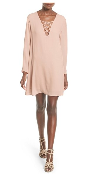 ASTR the Label lace-up bell sleeve shift dress in pale pink - Slender straps crisscross the plunging neckline of a...