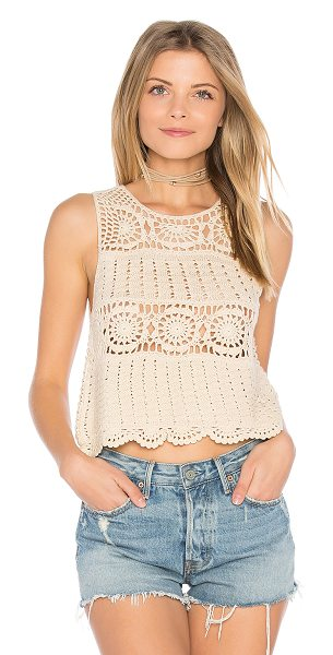 ASTR the Label Noelle Top in beige - Cotton blend. Hand wash cold. Scalloped hem. Crochet...