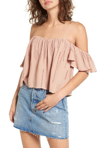 ASTR the Label amara blouse in mauve - Ruffled sleeves, embroidery and openwork details romance...