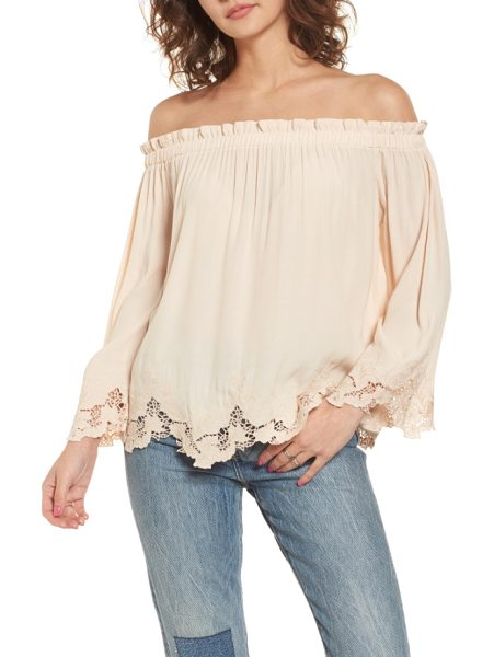 ASTR the Label analena off the shoulder blouse in blush - You might be tempted to take a spin in this fluid...