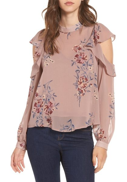 ASTR the Label chantelle ruffle top in mauve multi floral - Ruffled cutouts further the airy aesthetic of a swingy...