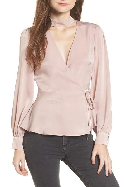 ASTR THE LABEL choker detail wrap blouse - Pretty and polished needn't slow you down in the morning...