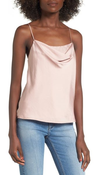 ASTR the Label cowl neck tank in blush - A softly draped cowl neckline updates this silky...