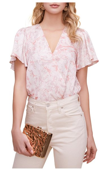 ASTR the Label flutter sleeve surplice top in pink