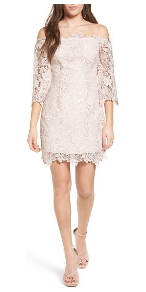 ASTR the Label madeline lace off the shoulder dress in blush - Delicate lace introduces classic, ladylike charm to a...