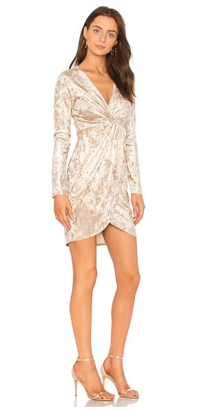 ASTR the Label Mandy Dress in metallic gold - Poly blend. Dry clean only. Unlined. Front twist detail....