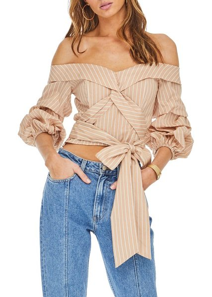 ASTR the Label off the shoulder top in dusty blush stripe - Just in time for the sun's return, this...