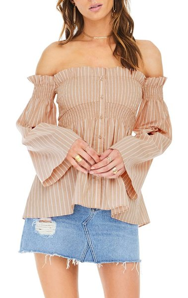 ASTR the Label shelby off the shoulder top in dusty blush stripe - Ready for warm weekends, this style is sure to improve...