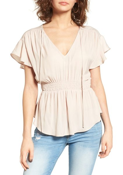 ASTR the Label shirred peplum top in blush - Shirred to define your waist, this style is all romance...