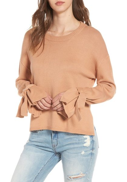 ASTR the Label tie sleeve sweater in tan cork - Flouncy tied cuffs bring an on-trend finish to this...