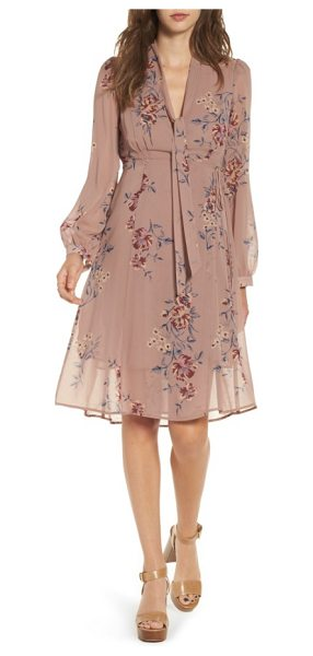 ASTR the Label tyra a-line dress in mauve multi floral - With moody florals and a sheer overlay, this dress is...