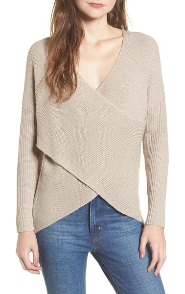 ASTR the Label wrap front sweater in oatmeal - Combining the comfort of a sweater with the style of a...
