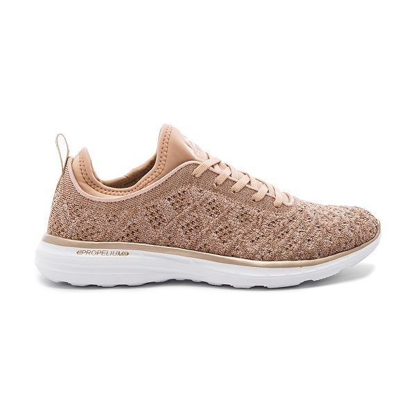 APL: Athletic Propulsion Labs Techloom Phantom Sneaker in brown - Textile upper with rubber sole. Lace-up front. Metallic...