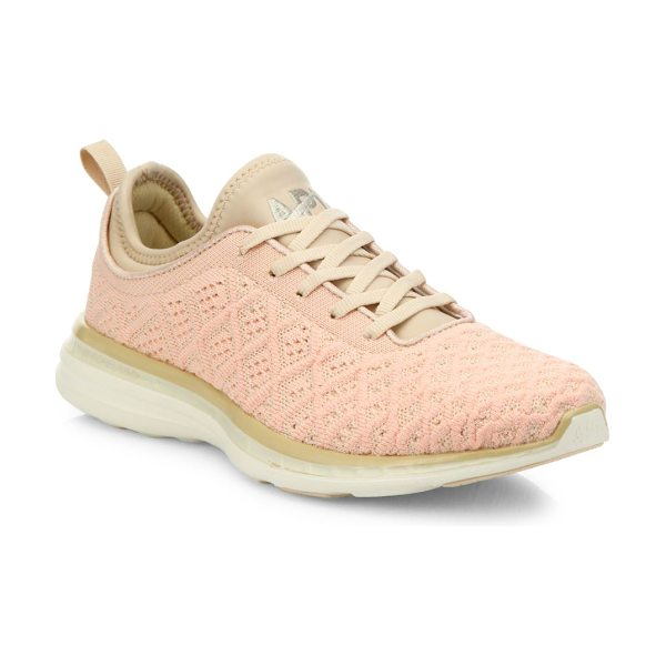 APL: Athletic Propulsion Labs techloom phantom mesh sneakers in blush-cream - Innovative sneakers with multi-level woven upper....