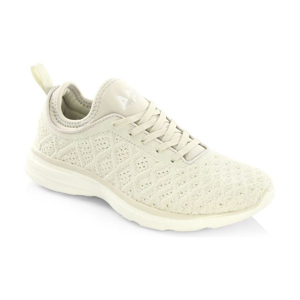 APL: Athletic Propulsion Labs techloom phantom sneakers in parchment - Innovative sneakers with multi-level woven upper....