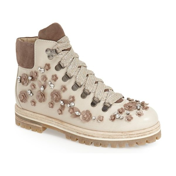 ATL Attilio Giusti Leombruni Attilio giusti leombruni flower embellished boot in ice - A classic leather hiking boot gets a feminine twist with...