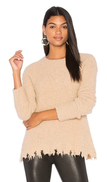 ATM Anthony Thomas Melillo Alpaca Crew Neck Sweater in tan - Alpaca blend. Dry clean only. Frayed hem. ATMA-WK27....