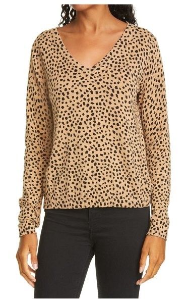ATM Anthony Thomas Melillo cheetah print cotton & cashmere sweater in beige