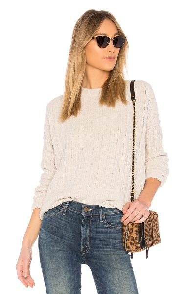 ATM Anthony Thomas Melillo Chenille Crew Neck Sweater in beige - 66% poly 34% nylon. Dry clean only. Rib knit fabric....