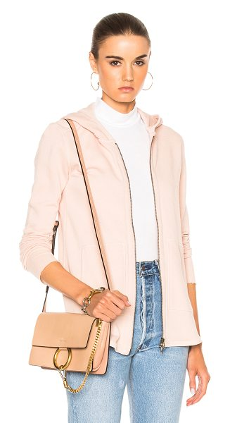 ATM Anthony Thomas Melillo French Terry Zip Front Jacket in blush - 83% cotton 17% poly. Made in Peru. Machine wash. Zip...