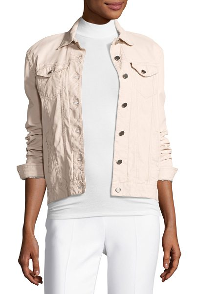 ATM Anthony Thomas Melillo Leather Button-Front Jacket in blush - ATM Anthony Thomas Melillo denim-style jacket in...